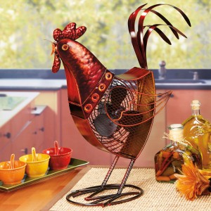 Decorative Rooster Figurine Table Fan